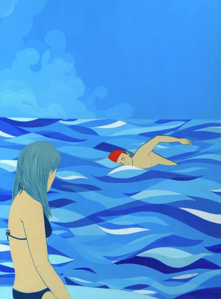 Girlfriend Digital Art - Woman Watching Man Swim In Ocean by Katherine Siy