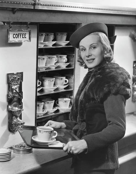 Wall Art - Photograph - Woman Wcoffee On Tray by George Marks