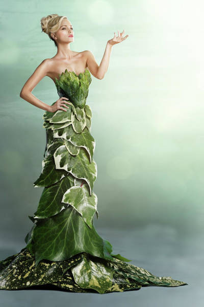 Hip Photograph - Woman Wearing A Long Gown Made Of Leaves by Paper Boat Creative