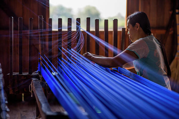 Real People Photograph - Woman Weaving Blue Silk Thread by Merten Snijders