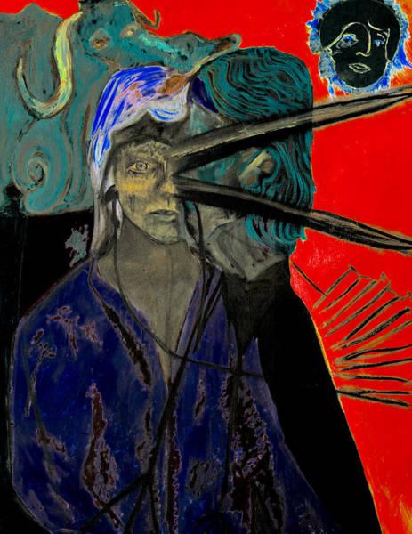 Digital Art - Woman With A Birds Beak On Red by Artist Dot