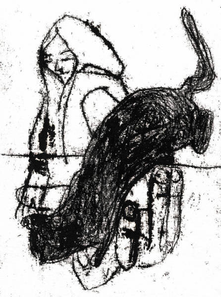 Drawing - Woman With A Cat by Artist Dot