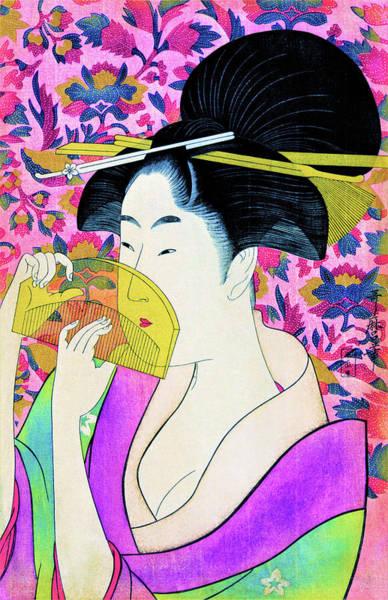 Wall Art - Painting - Woman With A Comb - Digital Remastered Edition by Kitagawa Utamaro