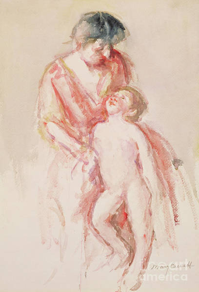 Wall Art - Painting - Woman With A Nude Boy At Her Side by Mary Stevenson Cassatt