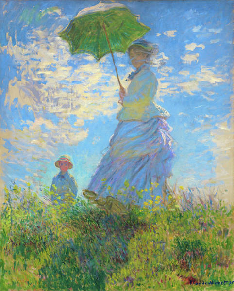 Peace And Love Painting - Woman With A Parasol - Digital Remastered Edition by Claude Monet