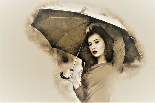 Sexy Lady Drawing - Woman With A Umbrella by ArtMarketJapan