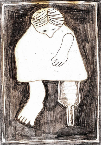 Drawing - Woman With A Wooden Leg Drawing by Artist Dot