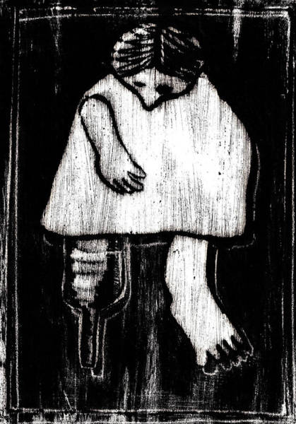 Drawing - Woman With A Wooden Leg by Artist Dot