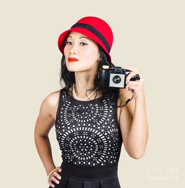 Wall Art - Photograph - Woman With An Old Camera by Jorgo Photography - Wall Art Gallery