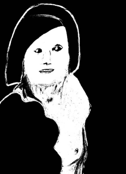 Digital Art - Woman With Black Hair On Black by Artist Dot