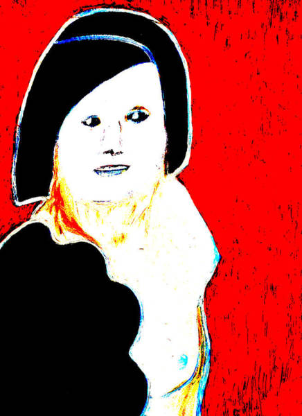 Digital Art - Woman With Black Hair On Red by Artist Dot