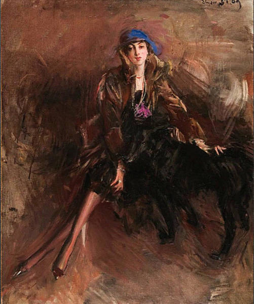 Wall Art - Painting - Woman With Black Sighthound by Giovanni Boldini