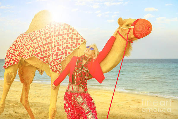 Photograph - Woman With Camel At Sunset by Benny Marty