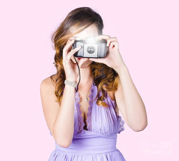 Wall Art - Photograph - Woman With Camera On White Background by Jorgo Photography - Wall Art Gallery