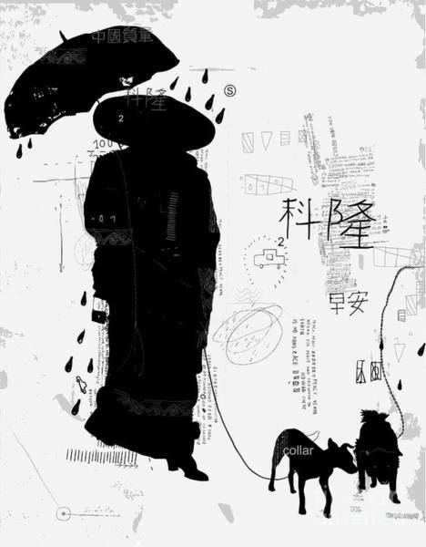 Wall Art - Digital Art - Woman With Dog Translation Chinese by Dmitriip