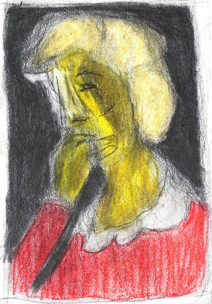 Pastel - Woman With Fingers In Her Mouth by Artist Dot