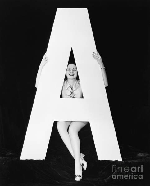 Wall Art - Photograph - Woman With Huge Letter A by Everett Collection