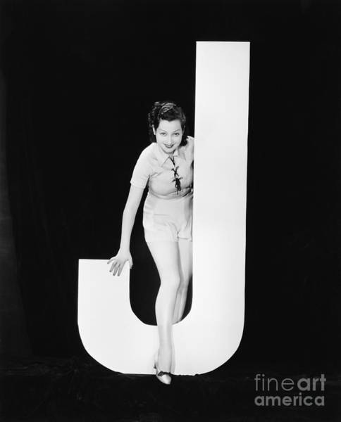 Wall Art - Photograph - Woman With Huge Letter J by Everett Collection