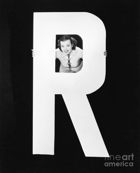 Wall Art - Photograph - Woman With Huge Letter R by Everett Collection