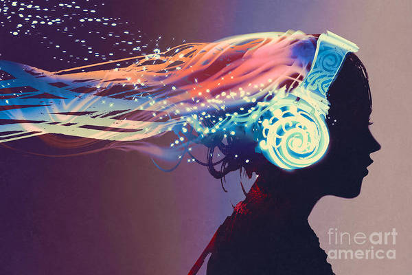 Wall Art - Digital Art - Woman With Magic Glowing Headphones On by Tithi Luadthong