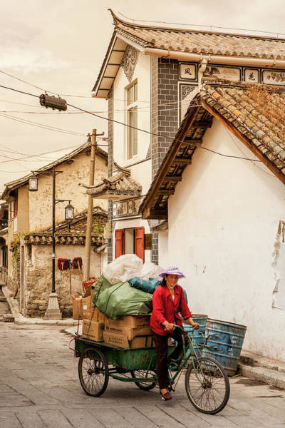 Real People Photograph - Woman With Packed Cargo Bicycle by Merten Snijders