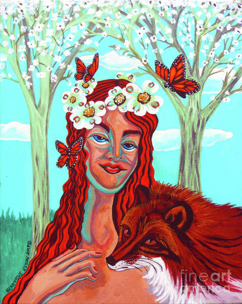 Wall Art - Painting - Woman With Red Fox And Butterflies by Genevieve Esson