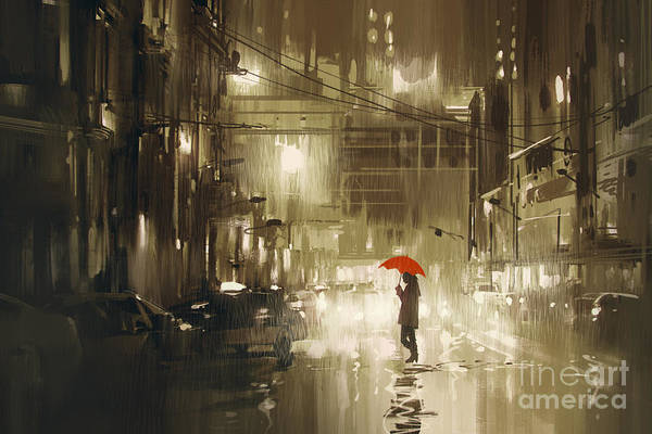 Urban Scene Wall Art - Digital Art - Woman With Red Umbrella Crossing The by Tithi Luadthong