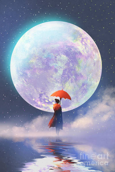 Wall Art - Digital Art - Woman With Red Umbrella Standing On by Tithi Luadthong