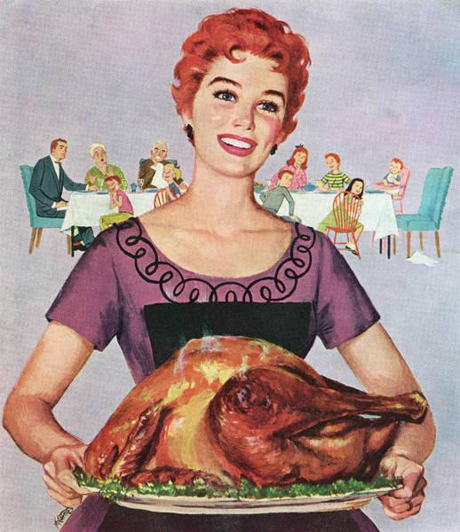 Apron Photograph - Woman With Thanksgiving Turkey by Graphicaartis