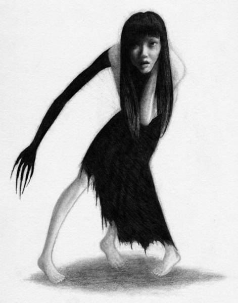 Woman With The Black Arm Of Demon Ghost - Artwork Art Print