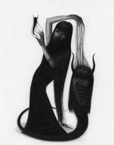Woman With The Demon's Fingers - Artwork Art Print