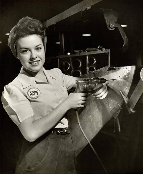 Wall Art - Photograph - Woman Working On Aircraft Assembly Line by George Marks
