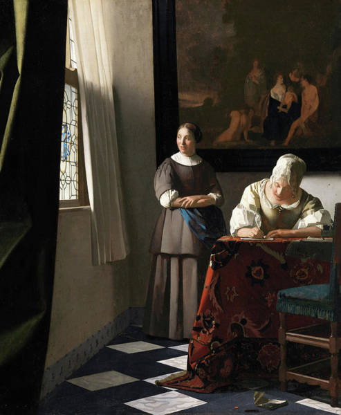 Window Frame Painting - Woman Writing A Letter, With Her Maid, 1670 by Jan Vermeer