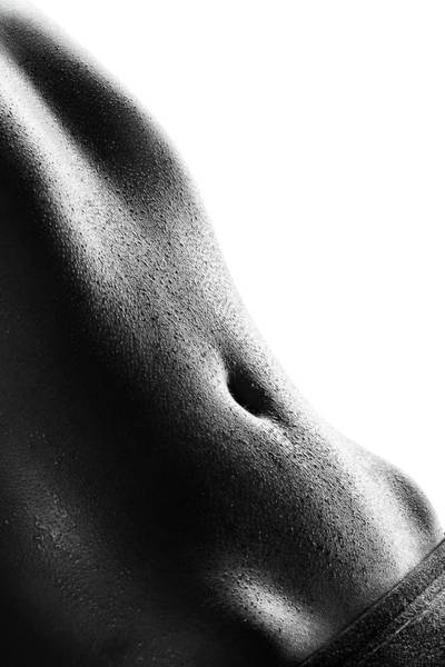 Stomach Wall Art - Photograph - Woman's Abdomen Full Of Sweat by Johan Swanepoel