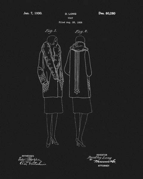 Wall Art - Drawing - Womans Coat Patent by Dan Sproul