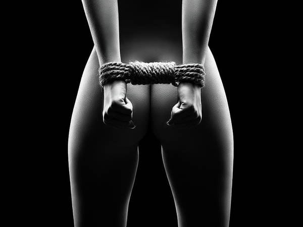 Butt Photograph - Woman's Hands In Bondage by Johan Swanepoel