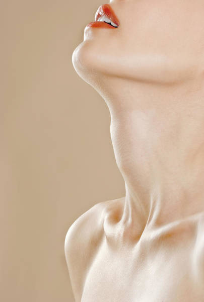 Shirtless Photograph - Womans Neck And Mouth by Joseph Clark