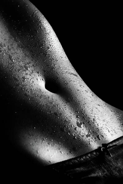 Stomach Photograph - Woman's Wet Abdomen by Johan Swanepoel