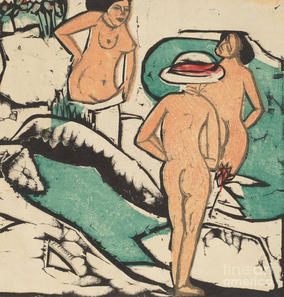 Bare Bottom Painting - Women Bathing Between White Stones, 1912  by Ernst Ludwig Kirchner