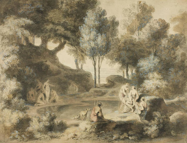 Wall Art - Drawing - Women Bathing In Pond by John William Taverner