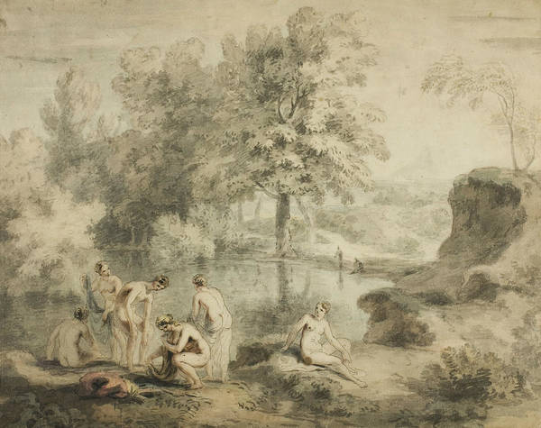 Drawing - Women Drying Selves By Pond, 1740-1750 by John William Taverner