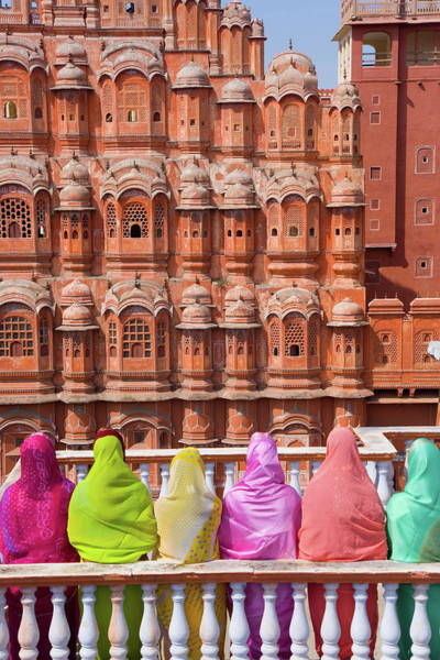 Wall Art - Photograph - Women In Bright Saris In Front Of The by Gavin Hellier / Robertharding