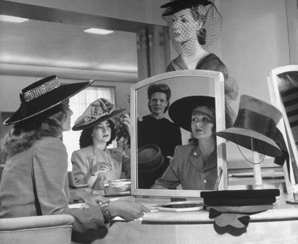 Small Photograph - Women Looking At Hats At Nieman Marcus D by Nina Leen