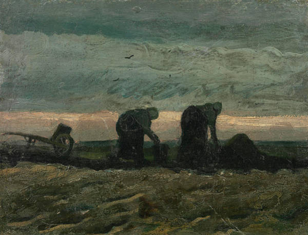 Wall Art - Painting - Women On The Peat Moor by Vincent Van Gogh