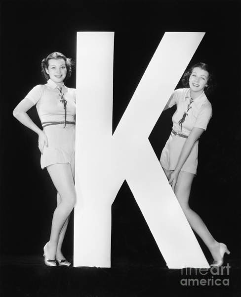 Two Friends Wall Art - Photograph - Women Posing With Huge Letter K by Everett Collection