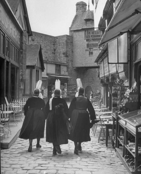 Walking Photograph - Women Walking Down Rue De La Paix.  Pho by Eliot Elisofon