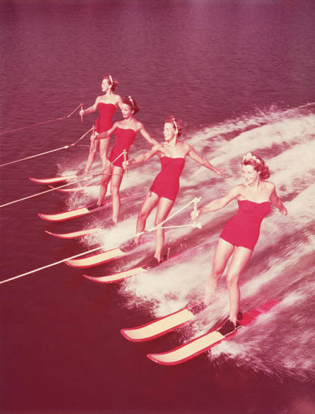 Waterskiing Photograph - Women Water Skiing Parallel, 1950s by Archive Holdings Inc.