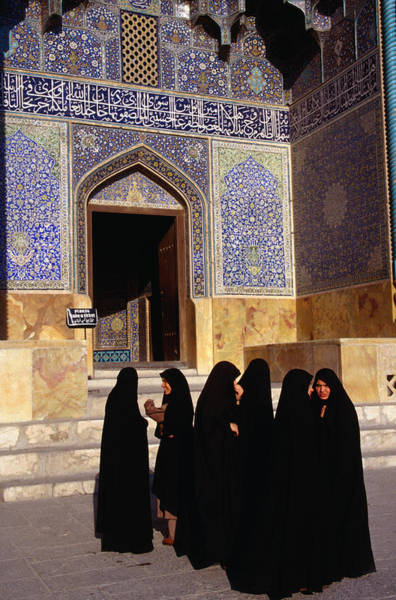 Wall Art - Photograph - Women Wearing Full Chador Outside The by Patrick Syder