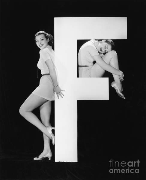 Two Friends Wall Art - Photograph - Women With Huge Letter F by Everett Collection