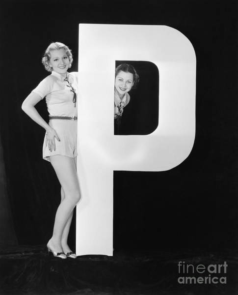 Two Friends Wall Art - Photograph - Women With Huge Letter P by Everett Collection